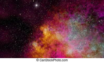 Universe, Beautiful Colorful Space Nebula and Stars