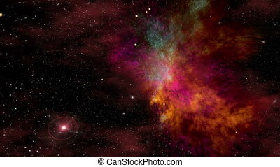 Universe, Beautiful Colorful Space Nebula and Stars -...