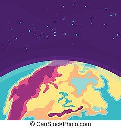 universe., cosmique, planète, fond, earth., dessin animé