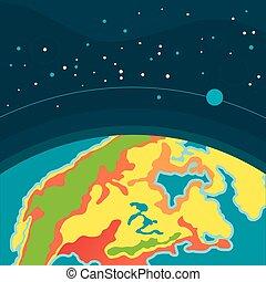 universe., cosmique, space., planète, fond, la terre, extérieur