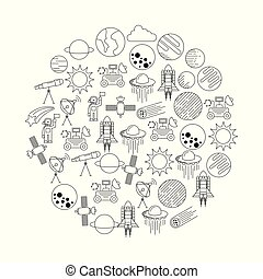 universe cosmos and astronomy icons set in circle