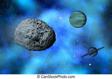 universe - large asteroid flying in the universe