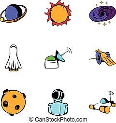 Universe icons set, cartoon style