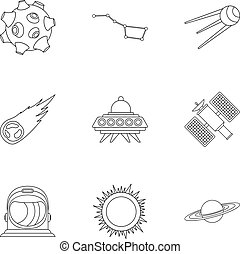 Universe icons set, outline style