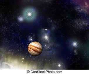 Universe - jupiter and a starfield - Beautiful starfield and...