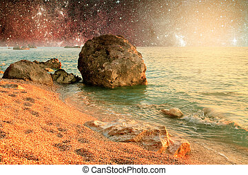 Universe landscape of alien planet with water in deep space