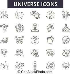 Universe line icons, signs set, vector. Universe outline concept, illustration: space,universe,planet,star,astronomy,satellite,science,saturn