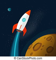 Universe or outer space with planets and rocket or spaceship flying vector illustration, flat cartoon flying rocketship near moon or mars planet surface