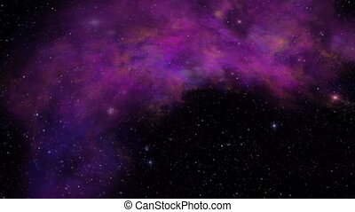 Universe, Purple Nebula, Twinkling Stars and Space Dust -...