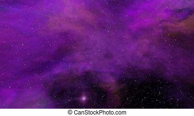 Universe, Purple Nebula, Twinkling Stars and Space Dust