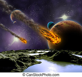 universe., résumé, illustration, planète, attaque, astéroïde, météore, impact.