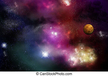 Beautiful starfield and nebulas with glowing stars and a red planet - fictional space/scifi scene.