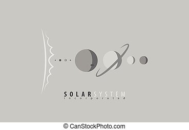 universe., system., science, space., sun., planets., solaire, soleil, logo, logo.