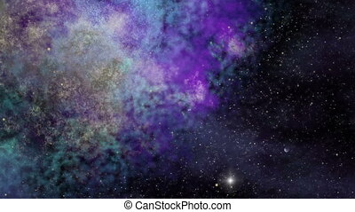 Universe, Ultra Violet Nebula, Twinkling Stars and Space Dust