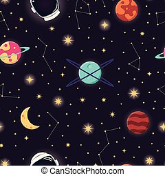Universe with planets, stars and astronaut helmet seamless pattern, cosmos starry night sky, vector illustration