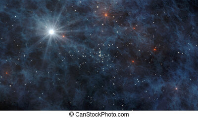 Universe with stars and galaxies in outer space 3D Rendering...