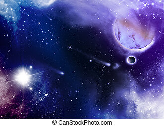 universe with stars and planet