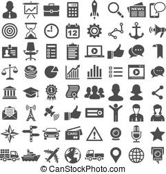 universeel, pictogram, 64, set., iconen