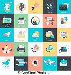 universeel, plat, iconen, ontwerp