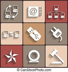 universeel, vector, plat, iconen