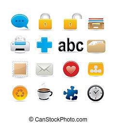 universel, et, bureau, icône, ensemble