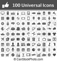 universel, icône, set., 100, icônes