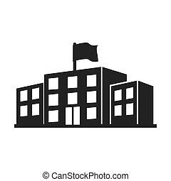 universidad, edificio, educación, construcción, icono, vector, gráfico