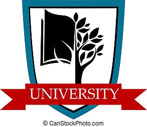universidad, emblema, con el protector, y, bandera