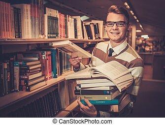 universidad, joven, libros, pila, atractivo, tenencia, ...