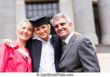 universidad, padres, hembra, graduado