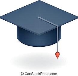 universidad, tapa graduación, icono, estudiante, educación,...