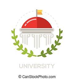 universidade, -, único, apartamento, desenho, ícone