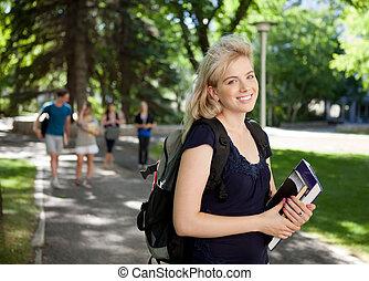 universidade, atraente, estudante