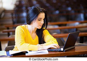 universidade, atraente, estudante, femininas