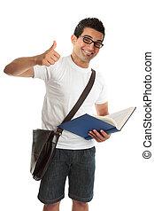 universidade, cima, faculdade, polegares, estudante, feliz