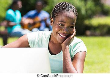 universidade, computador, estudante, africano