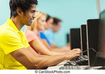 universidade, computador, estudante masculino, laboratório
