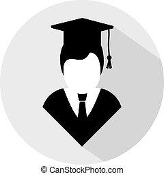 universidade, estudante, ícone