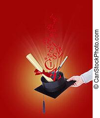 universidade, faculdade, grau, ilustração