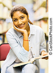 universidade, indianas, estudante, biblioteca