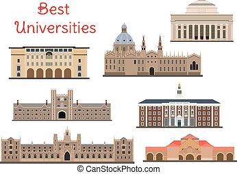 universidades, popular, edifícios, nacional, ícones