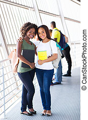 università, amici, africano femmina