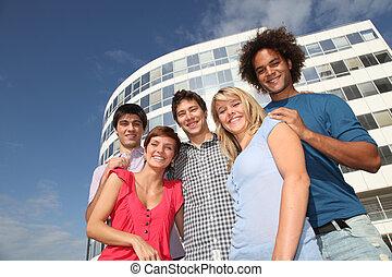 università, amici, gruppo, università