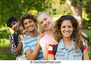 università, amici, standing, università, fila, felice