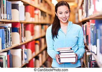 università, asiatico, studente