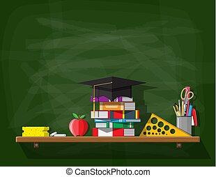 università, blackboard., scuola, o
