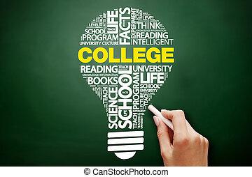 università, bulbo, parola, nuvola, collage