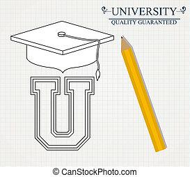 università, disegno, vettore, illustration.