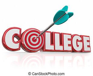 università, freccia, bersaglio, parola, scuola, università,...
