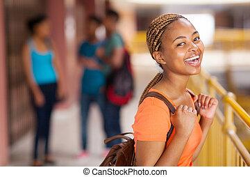 università, giovane, studente, africano